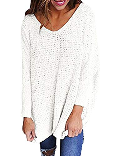 (Chuanqi Womens Sweaters Oversized V Neck Loose Knit Pullover Long Batwing Sleeve Tops)