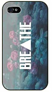 LJF phone case iPhone 5C Breathe, floral, black plastic case / Inspirational and motivational life quotes / SURELOCK AUTHENTIC