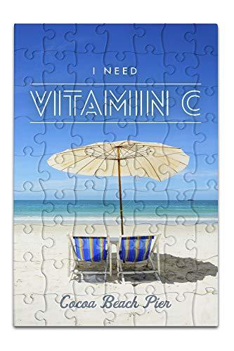 Cocoa Beach Pier, Florida - I Need Vitamin C - Beach Chairs and Umbrella (8x12 Premium Acrylic Puzzle, 63 Pieces)