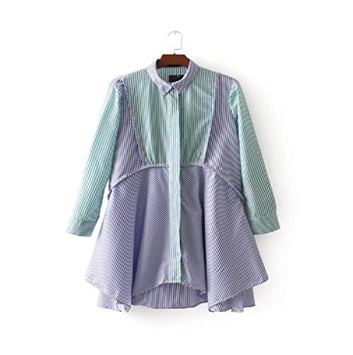 Femmes Longues pour color Vert Manches Vert Et Taille Printemps Chemise M Rayures FuweiEncore xnXFAq