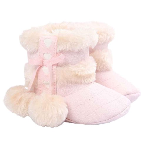 Snow Boots, FEITONG Baby Soft Sole Snow Boots Soft Crib Shoes Toddler Boots (0-6Months, Pink)