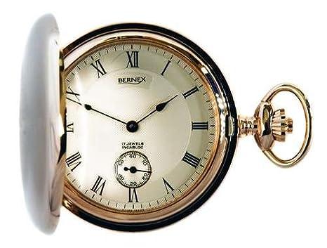 a444ed93807 Bernex Swiss Made Mechanical Rose Gold Plate Full Hunter Pocket Watch   Amazon.co.uk  Watches