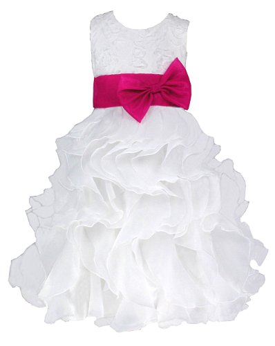 Pagent Dresses For Kids (Girls' Bridesmaids/flower Girl Tea-Length Dress in White & Hot Pink Sash 2 Years (W0038F-2#))