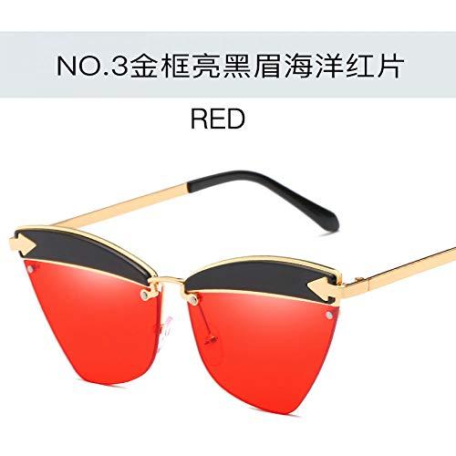 los ojo flecha Gafas cejas la sol de gato de de Burenqiq de sol metal moda red de de ocean eyebrows del de and frame sol bright la hombres black las Gold océano del rojo de del brillantes negras y señoras gafas del oro gafas del marco universales Uqxxw4vd