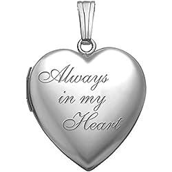 """Sterling Silver """"Always in My Heart """" Heart Locket Pendant - 3/4 Inch X 3/4 Inch"""