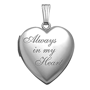 PicturesOnGold.com Always in My Heart Silver Heart Locket Pendant Necklace 3/4 Inch X 3/4 Inch Includes Sterling Silver 18 inch Cable Chain (Locket Only)