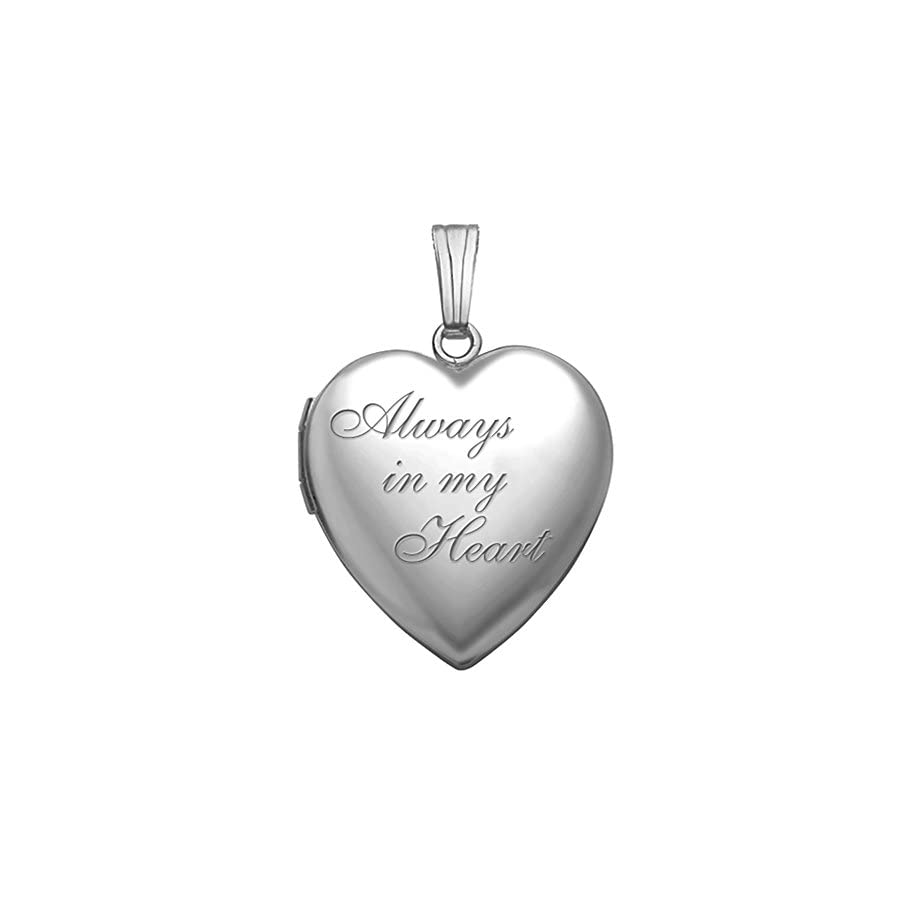 PicturesOnGold.com Always in My Heart Silver Heart Locket Pendant Necklace 3/4 Inch X 3/4 Inch Includes Sterling Silver 18 inch Cable Chain