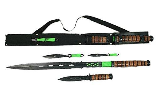 Großes G8DS® Zombie Dead SET 2 Wurfmesser und 2 inkl. Etui ZD-SET-381 4 tlg