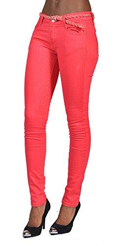 C'Est Toi 4 Pocket Braided Belted Plus Size Skinny High Fashion Jeans (Coral (Pink Pocket Jeans)