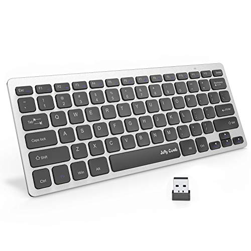 Wireless Keyboard, Ultra-Thin Portable Wireless Keyboard - Jelly Comb 2.4GHZ Small USB Keyboard Compatible with Windows XP/Vista/ 7/8/ 10,Sleek Design-(Black +Silver)