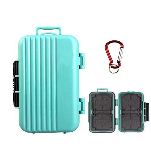 LXH Memory Card Case Holder,SD SDHC SDXC CF TF Memory Card Case Holder Waterproof Carrying Storage Case Holder Box Keeper Box 24 Slots for 4 CF cards/8 SDHC/SDXC Cards and 12 Micro SD Cards (Green)