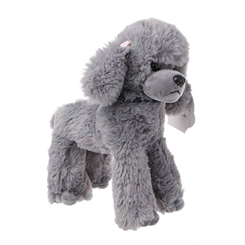 Jesse Poodle Plush Toy, 9.84 x 7.87 inch, Cute Soft Stuffed Animal Doll Sofa Bed Decoration Baby Hand Toy Gift for Kids Girls Boys (Gray) -