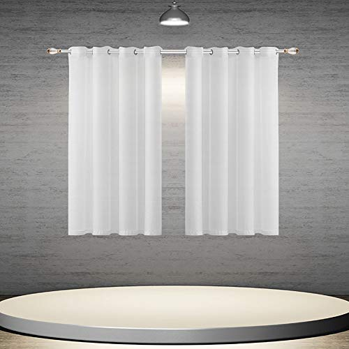 DONREN 45 Inch White Sheer Curtains Luxury Soft Short Semi Sheer Grommet Curtain Drapes for Kids Room 52 Inches Wide 2 Panels (Inch Curtains Sheer 45)