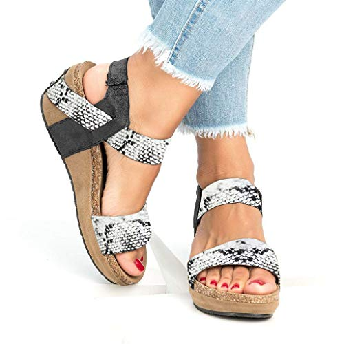 Todaies Women's Summer Leather Sandals, Leopard Open Toe Strappy Wedge Platform Shoes Roman Sandal (40, White)