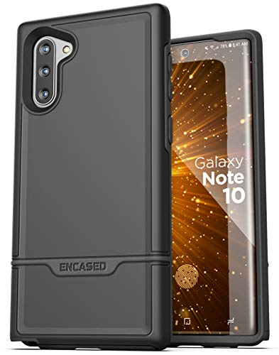 Encased Heavy Duty Galaxy Note 10 Protective Case (2019 Rebel Armor) Military Grade Full Body Rugged Cover (Samsung Note 10) Black