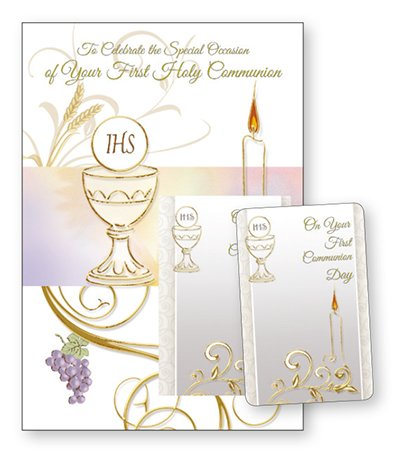 First Holy Communion Card With Laminated Prayer Card Gold Embossed