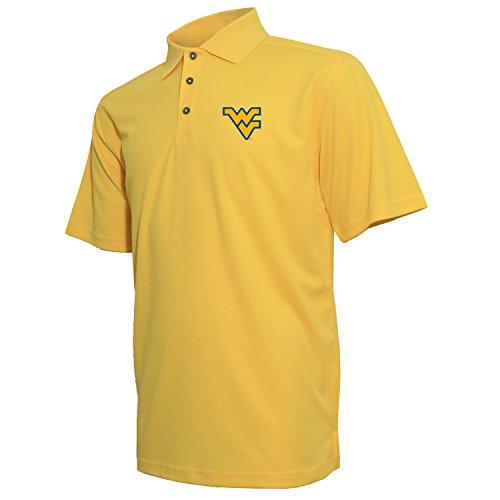 NCAA West Virginia Mountaineers Ottoman Textured Tech Polo T-Shirt, Medium, Varsity Gold
