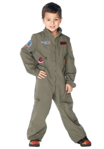 Leg Avenue Big Boy's Top Gun boys flight suit Adult Costume, khaki, -