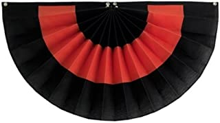 "product image for Independence Bunting - Fully Sewn American Made Halloween Pleated Fan Flag Bunting (Polycotton - Black/Orange/Black, 24"" x 48"")"