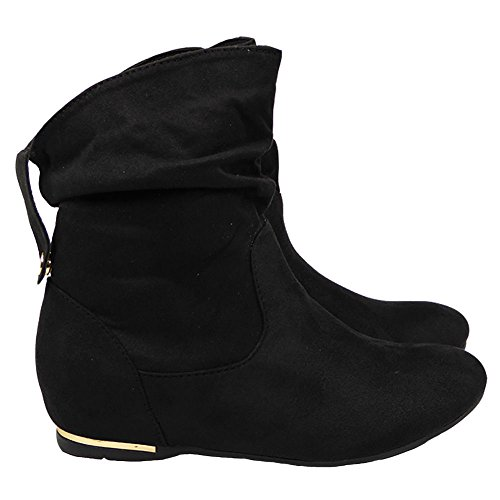 Loud Look New Womens Ladies Flat Faux Suede Slouch Low Heel Wedge Ankle Boots Shoes Size 3-8 Black MqpvKTF32