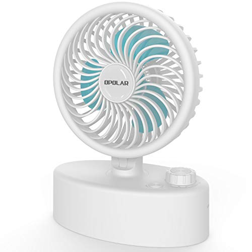 OPOLAR Mini Oscillating Desk Fan with Two 2600mAh Batteries, USB Personal Tabletop Fan, Stepless Speed Regulation, Whisper Quiet, High Airflow, Small Cooling Fan for Office Home Bedroom- White by OPOLAR