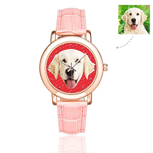 Custom Photo Dog Puppy Pet Watch with Face Bones Dog Cat Tracks Paws Red Pattern Wrist Watches for Women/Girlfriend/Wife ()