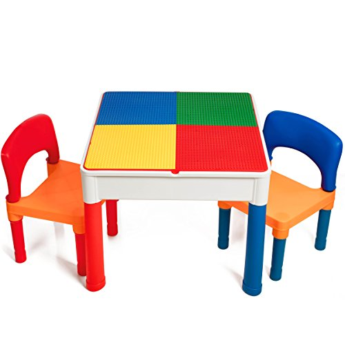 Smart Builder Toys Kids 2 in 1 Duplo and Lego Compatible Table With Large Storage Area and 2 Chairs Set (VIEW ALL PHOTOS) (And Storage With Chairs Table)