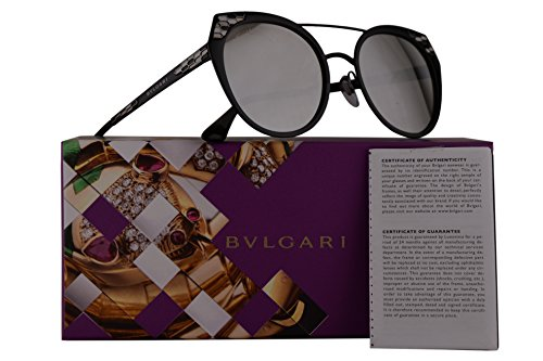 Bvlgari BV6095 Sunglasses Semi Matte Black w/Light Grey Mirror 53mm Lens 20266G BV 6095 - Sunglasses Aviator Rimless 59mm Semi