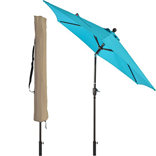 - LCH 9 ft Outdoor Umbrella Patio Backyard Market Table Umbrella Sturdy Pole Push Button Easily Tilt Crank with Umbrella Cover (Blue)
