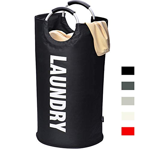 HOUSE DAY Large Laundry Basket Collapsible Fabric Laundry Hamper, Foldable Clothes Bag, Folding Washing Laundry Bag(Black,82L)