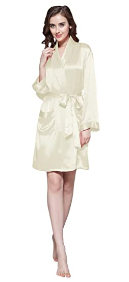 96d3a19a5c LILYSILK Pure Silk Dressing Gown Women Short Robe Kimono for Bride  Bridesmaid 22 Momme 100 Mulberry
