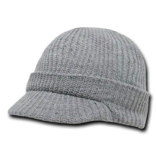 DECKY Acrylic Knit GI Jeep Cap Beanie Hat (Grey)