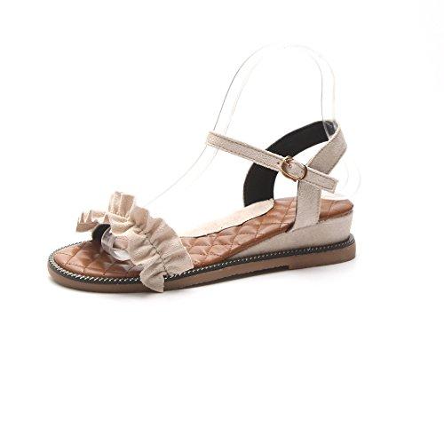 Vintage d'été Chaussures antidérapant Pink Sandales Pente Mot Bas Romain Boucle Douce TTSRnWE5xU