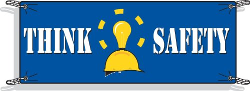 Brady 50902 3-1/2' Height, 10' Width, Vinyl, White And Yellow On Blue Color Safety Banner, Legend