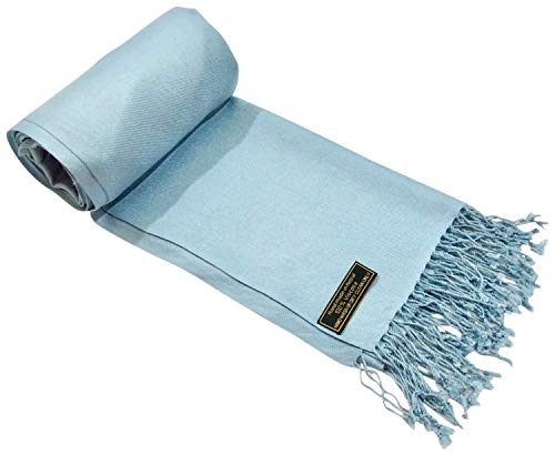CJ Apparel Baby Blue Solid Color Design Nepalese Shawl Seconds Scarf Wrap Stole Pashmina NEW