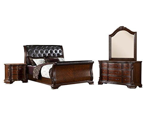 HOMES: Inside + Out IDF-7267CK-4PC 4 Piece ioHOMES Trenton Sleigh Bed Set, California King, Brown Cherry