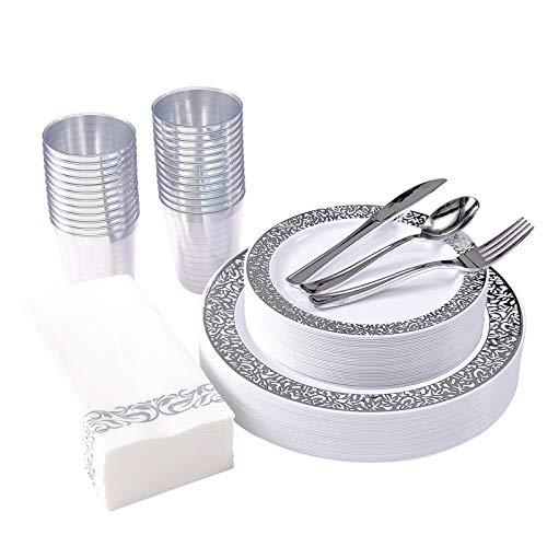 175 Piece Silver Dinnerware Set 25 Guest-50 Silver Lace Plastic Plates-25 Silver Plastic Silverware-25 Silver Plastic…