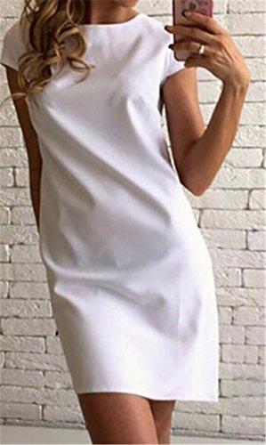 Cmc Womens Col Rond Classique D'été Mince Robe Tunique En Forme Lâche Plaine Blanche