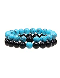 ISHOW Couples His and Hers Bracelet Blue Turquoise&Black Agate Beads Distance Bracelet