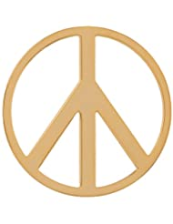 MS Koins Stainless Steel Coin Peace Sign Yellow Gold Plated Fits Our Coin Locket System, 30mm Diameter