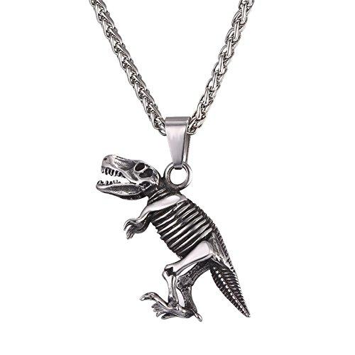U7 Dinosaur Necklace Vintage Black Titanium Steel Skull Pendant Punk Personalized Jewelry