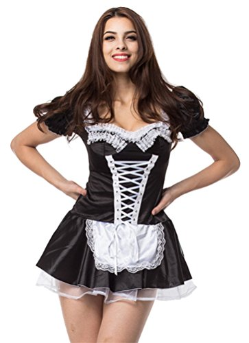 DarlingLove Women's Cosplay Maidservant Apron Maid Outfits Nightdress Costume, Black , XXX-Large ]()