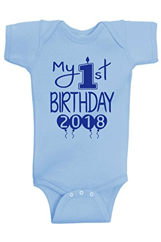 Reaxion Aiden's Corner - Baby Boy Clothes - Baby Boy My First Birthday Bodysuit (12 Months, 2018 Royal-Lt Blue)