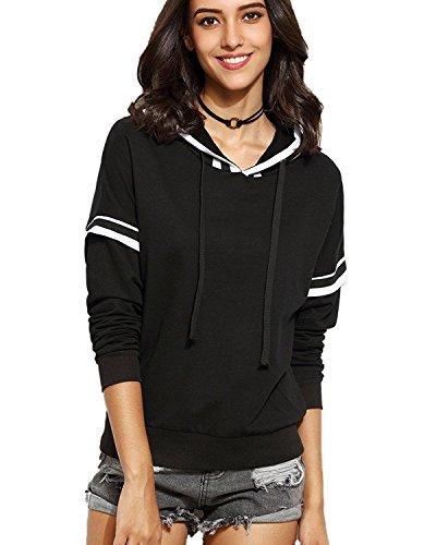 Minetom Mujer Otoño Moda Manga Larga Sudaderas Con Capucha Blanco Rayas Sudaderas Camisas Tops Negro