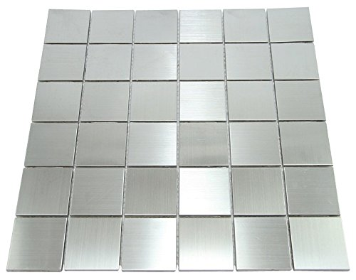 Matte Silver Stainless Steel Metallic Square Glass Mosaic Tiles for Bathroom and Kitchen Walls Kitchen Backsplashes (Free Shipping)