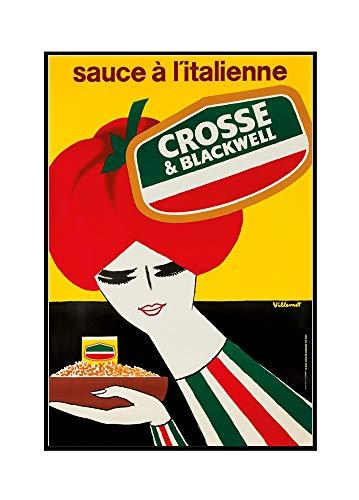 Crosse and Blackwell Vintage Poster (artist: Villemot, Bernard) France (24x36 Framed Gallery Wrapped Stretched Canvas)