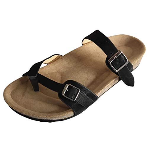 TOOPOOT Summer Solid Color Thong Sandals Buckle Slippers Sandals Beach Shoes Black