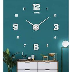SIEMOO3D Frameless DIYWallClock,Large WallClockKit 3D MirrorNumberStickers Mute ClockModern Design forHomeLivingRoomBedroomOfficeDecoration-Silver
