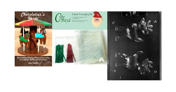 Cybrtrayd 3D Reindeer from C308-D Chocolate Mold with Chocolatiers Bundle of 50 Cello Bags 25 Green and 25 Red Twist Ties and Chocolatiers Guide