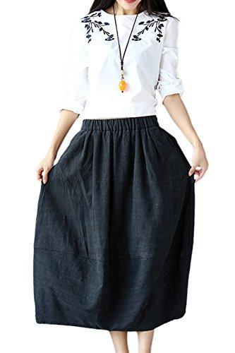 Zonsaoja Les Femmes Maxi Jupe Longue Dcollet Plis Lin Rtro avec Poches Black